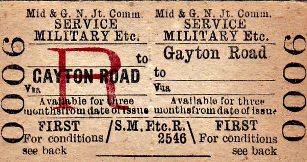 M&GN TICKET - GAYTON ROAD - First Class Military Service Return to Blank Destination.
