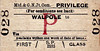 M&GN TICKET - WALPOLE - First Privilege Single to blank destination. I suspect that these particular tickets were rarely issued from stations as minor as these.