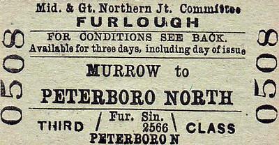 M&GN TICKET - MURROW - Third Class Furlough Single to Peterborough North.