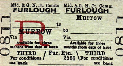 M&GN TICKET - MURROW - Third Class Return for issue to members of HM Forces.