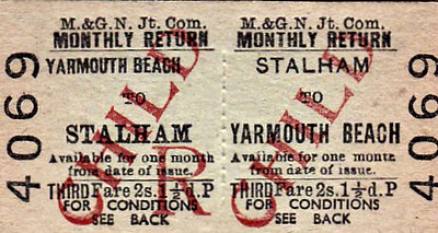 M&GN TICKET - STALHAM - Third Class Child Monthly Return to Yarmouth Beach, fare 2s 1 1/2d.