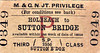M&GN TICKET - HOLBEACH - Privilege Single Third Class to Sutton Bridge.