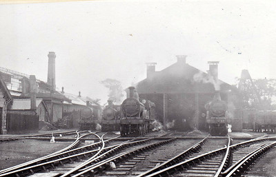 MELTON CONSTABLE - The Running Shed in August 1932. A Class B tank on the extreme left, a Class A next to it and two Class C's in the mouth of the shed, No.47 on the right.