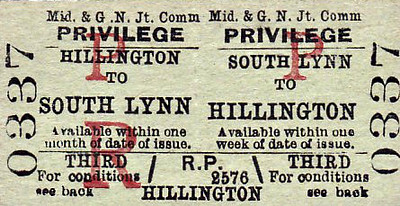 M&GN TICKET - SOUTH LYNN - Third Class Privilege Return to Hillington - for use by the families of railway servants.