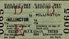 M&GN TICKET - HILLINGTON - Third Class (Day) Reduced Fare Return - evidently at that time the Day Return, a common ticket today, was then something of a novelty.