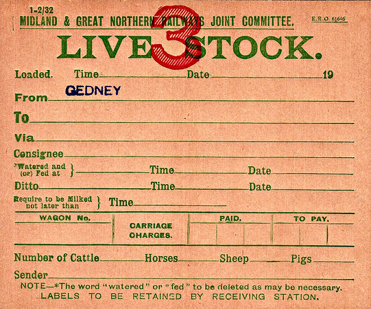 M&GN WAGON LABEL - LIVESTOCK - Shipped from Gedney. What a palaver this must have been! Not only did it need to be fed and watered, but cows had to be milked as well! What happened to the milk?