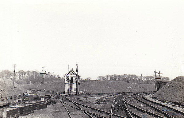 MELTON CONSTABLE - West Junction, 04/47, with the Cromer line diverging to the right and that to South Lynn to the left.