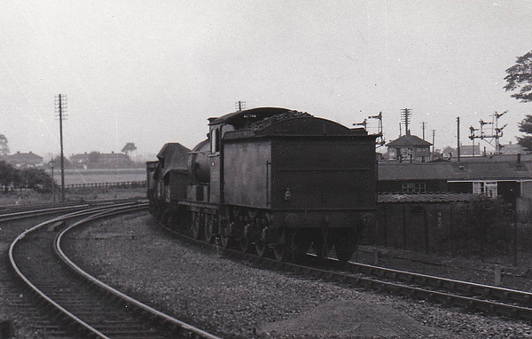 SUTTON BRIDGE - An unidentifiable Class J17 approaches Sutton Bridge from Spalding on an eastbound freight train.