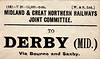M&GN LUGGAGE/PARCEL LABEL - DERBY (MIDLAND), via Bourne and Saxby - print date 06/08.
