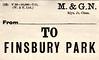 M&GN LUGGAGE/PARCEL LABEL - FINSBURY PARK - print date 07/11.