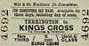 M&GN TICKET - TERRINGTON - Third Class Single to Kings Cross, via Thorney and Peterborough - fare 15s 0d.