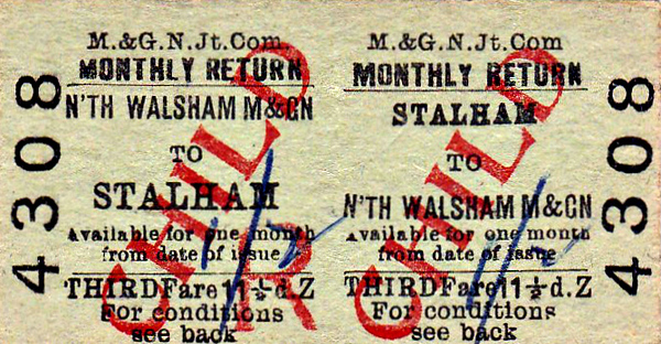 M&GN TICKET - STALHAM - Third Class Child Monthly Return to North Walsham, fare 11 1/2d, changed by hand to 1s 2d - dated February 21st, 1959.