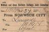 M&GN WAGON LABEL - NORWICH CITY to LENWADE - On May 18th, 1895, with the M&GN just 1 year old, wagon no.37 was sent from Norwich City to Lenwade consigned to the Station Agent.