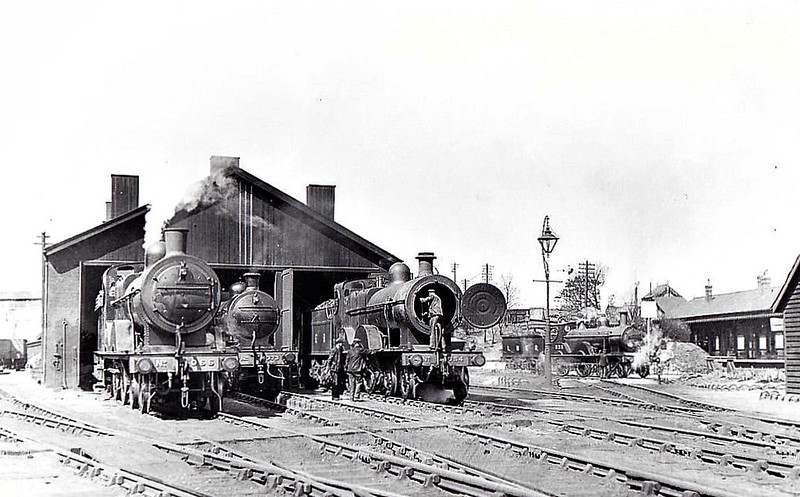 MELTON CONSTABLE - The Running Shed, not a large establishment, with the turntable off to the right where No.038 stands. In front of the shed are Class D54's Nos.055 and 054 with GNR Class D2 No.4373 in the centre in 1936.