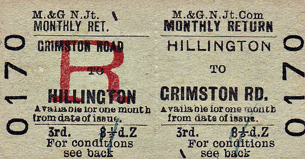 M&GN TICKET - HILLINGTON - Third Class Monthly Return to Grimston Road, fare 8 1/2d - dated January 3oth, 1959. Some gathering souvenirs I suspect.