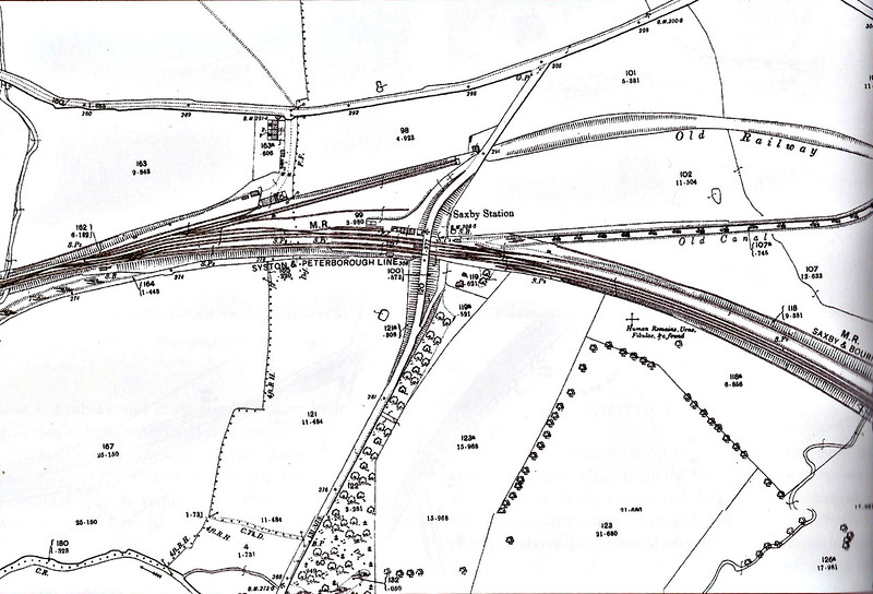 SAXBY - A 1904 map of Saxby Station, located just to the left of the road bridge. The MR Leicester - Peterborough line is joined here by the M&GN just to the east of the road bridge. The 'Old Railway' is the original MR alignment was taken out of use in the 1880's when the line between Manton Junction and Glendon Junction was opened as the curves on this were considered far too tight for expresses travelling at high speeds. The stub was subsequently used for wagon storage. The station was resited and expanded when the M&GN arrived in 1892.
