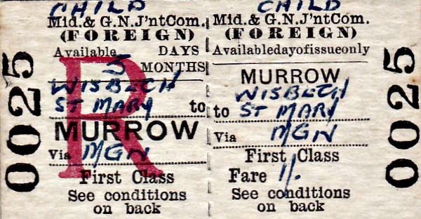M&GN TICKET - MURROW - First Class Child Three Monthly Return to Wisbech St Mary, fare 1s - dated February 28th, 1959. I can't help but feel that buying a Three Monthly Return on closure day was a little optimistic!