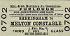 M&GN TICKET - SHERINGHAM - Third Class Furlough Single to Melton Constable.