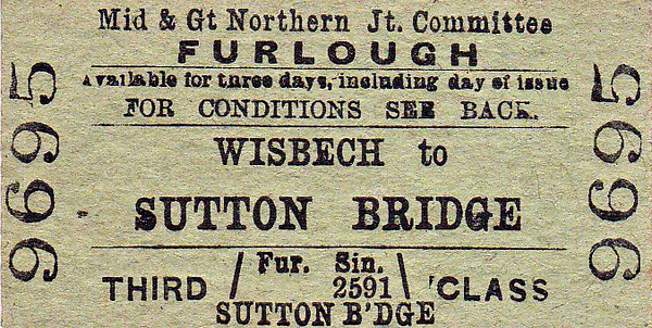M&GN TICKET - WISBECH - Third Class Furlough Single to Sutton Bridge.