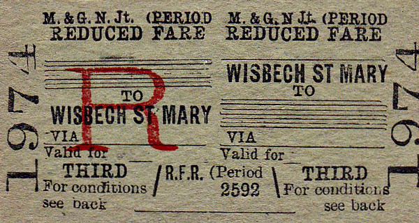 M&GN TICKET - WISBECH ST MARY - Third Class Reduced Fare Return to Blank Destination.