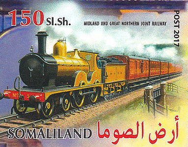 SOMALILAND 150 SHILLING STAMP - M&GN No.5 on a train of 6-wheeled stock. I can't imagine what the population of Somaliland made of that!