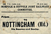 NORFOLK & SUFFOLK JOINT COMMITTEE - LUGGAGE LABEL - NOTTINGHAM MIDLAND - via Bourne & Saxby - print date March 1913.