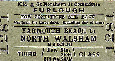 M&GN TICKET - YARMOUTH BEACH - Third Class Furlough Single to North Walsham - surely most furlough tickets would have been returns?