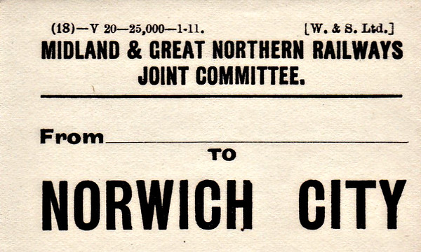 M&GN LUGGAGE/PARCEL LABEL - NORWICH CITY - print date January 1911.