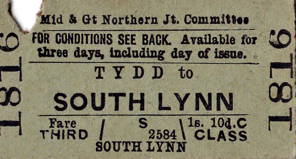 M&GN TICKET - TYDD - Third Class Single to South Lynn, fare 1s 10d - clipped but undated.