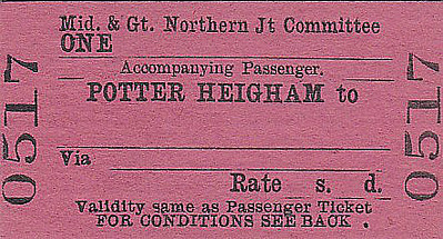 M&GN TICKET - POTTER HEIGHAM - Accompanying Passenger Ticket - required if travelling with a bike or a double bass or maybe a large dog that took up passenger space.