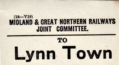 M&GN LUGGAGE/PARCEL LABEL - LYNN TOWN - It's only relatively recently that Kings Lynn has become the commonly used name for Lynn. This label refers to the LNER, ex-GER, station.