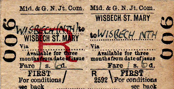 M&GN TICKET - WISBECH ST MARY - First Class Three Monthly Return to Wisbech North, fare 1s 6d - dated July 23rd, 1958.