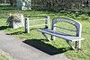 SUTTON BRIDGE, Lincolnshire (4) - In this small park area just by the Cross Keys Bridge, all of the furniture has been made to resemble the construction of the bridge - here we see furniture in a small grassy area at the eastern end of the bridge - March 24th, 2014.