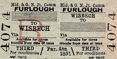 M&GN TICKET - WISBECH - Third Return from Wisbech North issued to members of HM Forces.