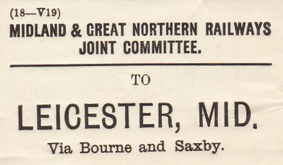 M&GN LUGGAGE/PARCEL LABEL - LEICESTER MIDLAND - via Bourne & Saxby - it was important to keep the traffic on your company's trains, hence the route stipulation.