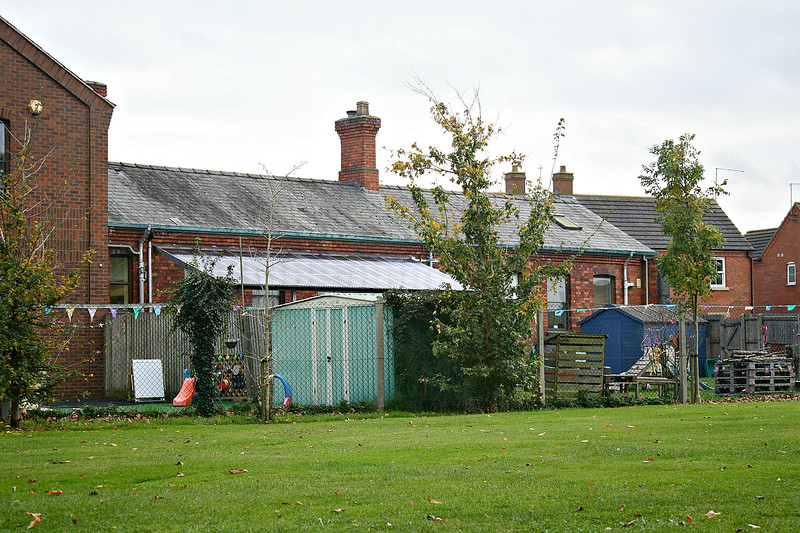 BOURNE - Now a children's nursery, this single storey building is of unmistakably railway origin. On the south side of the station yard, I suspect that it was once part of the goods offices. The building to the left is obviously of recent construction but with some sympathy for the original. Seen here on November 2nd, 2017.
