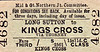 M&GN TICKET - LONG SUTTON - Third Class Single to Kings Cross, via Thormey, fare 15s 11d.
