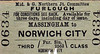 M&GN TICKET - MASSINGHAM - Third Class Furlough Single to Norwich City - clipped but not dated.