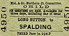M&GN TICKET - LONG SUTTON - Third Class Child Single to Spalding, fare 1s 0 1/2d.