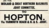 M&GN LUGGAGE/PARCEL LABEL - HOPTON - via Yarmouth Beach and the Norfolk & Suffolk Joint Line.