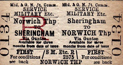 M&GN TICKET - SHERINGHAM - First Class Military Service Return to Norwich Thorpe, via Gunton.