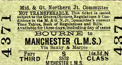 M&GN TICKET - BOURNE -  Third Class Single to Manchester (LMS), via Saxby and Marple, fare 14s 5d - quite an interesting journey as only abut the first 6 miles were on M&GN territory! I find it very interesting just how specific the companies were about intermediate routing points.