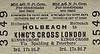 M&GN TICKET - HOLBEACH - Third Class Single to London Kings Cross, via Spalding and Peterborough - fare 17s 9d.
