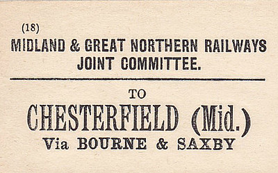 M&GN LUGGAGE/PARCEL LABEL - CHESTERFIELD MIDLAND - via Bourne & Saxby - it was important to keep the traffic on your company's trains, hence the route stipulation.