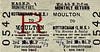 M&GN TICKET - MOULTON - Third Class Monthly Return to Nottingham (LMS), via Saxby & Bourne, fare 14s 7d.