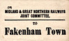 M&GN LUGGAGE/PARCEL LABEL - FAKENHAM - Fakenham Town was opened by the L&FR in August 1880, renamed Fakenham in 1910 and then Fakenham West by BR in 1948. Thus we can date this label.