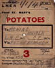 LNER WAGON LABEL - Wagon No.192293 is en route from St. Mary's to Honing with 100 bags of potatoes for the Eastern Counties Cooperative Society, departing on December 28th, 1940, and arriving on New Year's Day 1941. St. Mary's was a tiny station, only intermediate stop on the GNR branch from Holme to Ramsey North. It lost it's passenger services in October 1947 but remained open for freight until 1971. Evidently, the black fen soil in that area must have produced a great amount of potatoes as this label has been pre-printed, no less than 1000 of them!