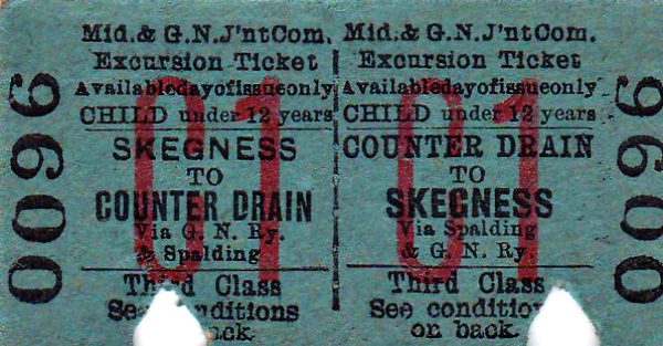 M&GN TICKET - COUNTER DRAIN - Third Class Child Day Excursion Return to Skegness, via Spalding and the GNR - clipped but not dated.