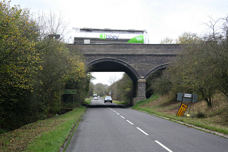 SOUTH WITHAM - Bridge No.25 was built to carry what was then known as the Great North Road over the railway. When the A1, as it is now known, was dualled in the 1960's, another bridge was built adjacent to carry the northbound carriageway and the trackbed was utilised for the slip roads.