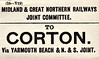 M&GN LUGGAGE/PARCEL LABEL - CORTON - Via Yarmouth Beach and the Norfolk & Suffolk Joint Line.